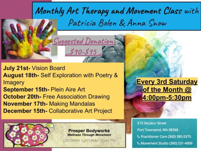 Monthly Art Therapy Dates 2018